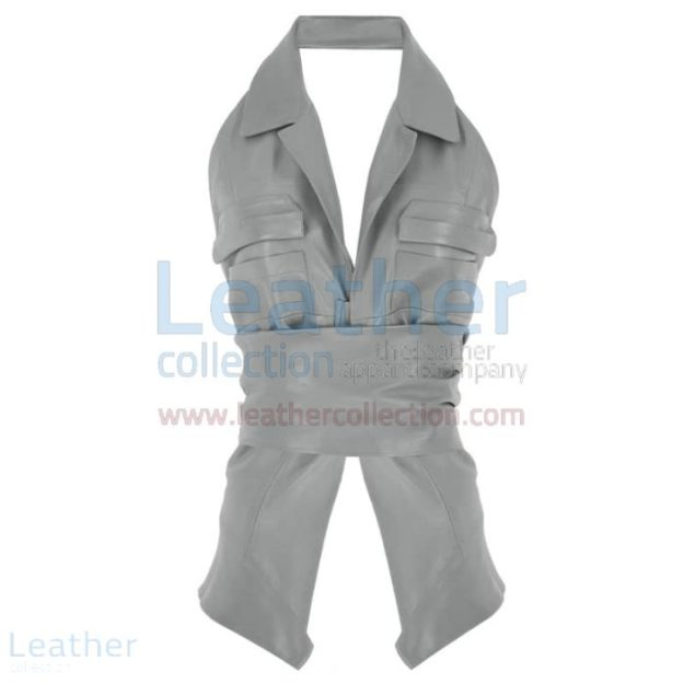 LEATHER NAKED GREY VEST WOMENS WITH BELT