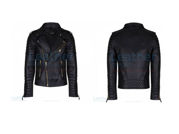 BLACK QUILTED LEATHER JACKET MENS