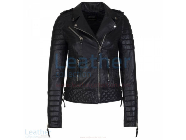 BIKER QUILTED LEATHER JACKET WOMENS