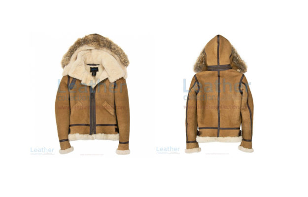 HOODED FUR SUEDE BOMBER JACKET WOMENS