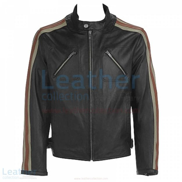 LEATHER BIKER JACKET WITH STRIPES ON SLEEVES