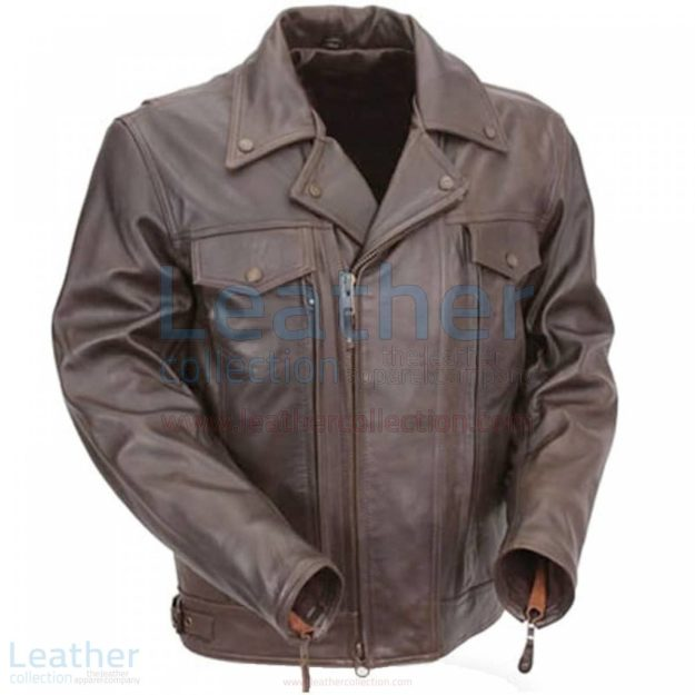 PISTOL PETE MENS BROWN LEATHER MOTORCYCLE JACKET WITH ZIPPER VENTS