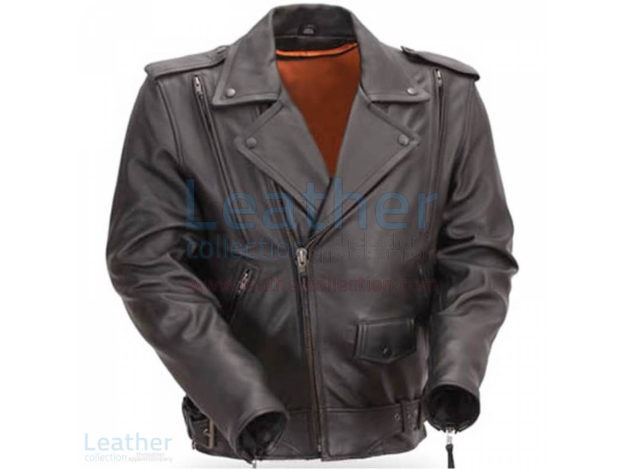 Mens Classic Motorcycle Jacket with Gun Metal Hardware