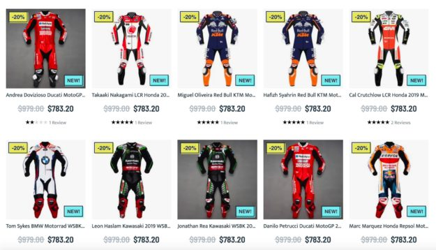 Explore the vast collection of MotoGP 2019 motorcycle racing suit