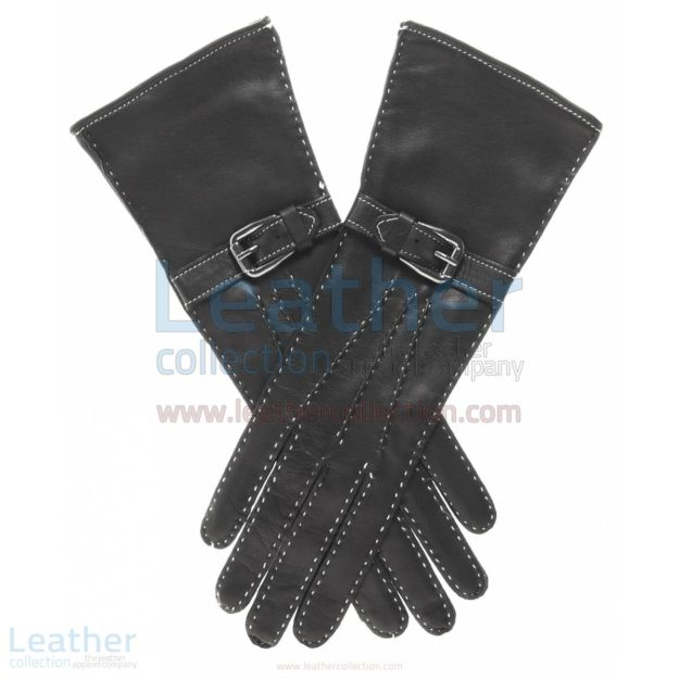 SILK LINED LEATHER GLOVES WITH DECORATIVE BUCKLE
